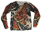 トラ タトゥー タイツ ロング tシャツ おもしろ 入れ墨 シャツ 面白 和彫り Tシャツ イベント コスプレ ( トラ )