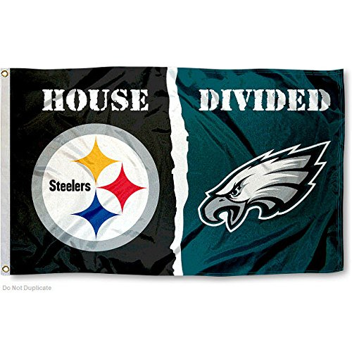 Pittsburgh Steelers and Philadelphia Eagles House Divided Flag from SteelerMania
