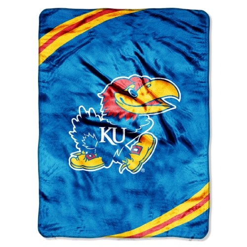 NCAA Kansas Jayhawks Force Royal Plush Raschel Throw Blanket, 60x80-Inch at Amazon.com