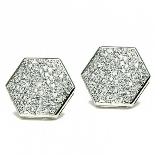 Bling Jewelry Sterling Silver Micro Pave Hexagon Stud Earrings 11mm