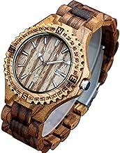 Estilo Retro de la vendimia de los hombres de la única XLORDX de color marrón de la fecha del reloj del deporte de madera de bambú Natural de la muñeca Zrbrawood reloj de pulsera