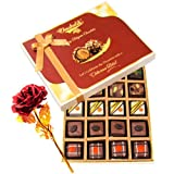 Tempting Chocolate Gift Box With 24k Red Gold Rose - Chocholik Belgium Chocolates