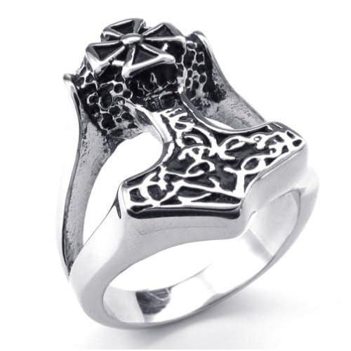 (キチシュウ)Aooazジュエリー メンズステンレスリング指輪 クロストールのハンマー雷神デザイン ブラック、シルバー 高品質のアクセサリー 日本サイズ30号(USサイズ14号)