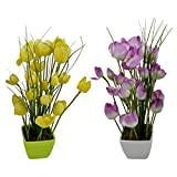 Thefancymart Artificial Tulip Flower Plant With PVC Pot_set Of 2 Style Code-74