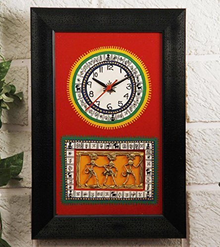 Unravel India Black & Red Dhokra & Warli Fusion Clock by Unravel India