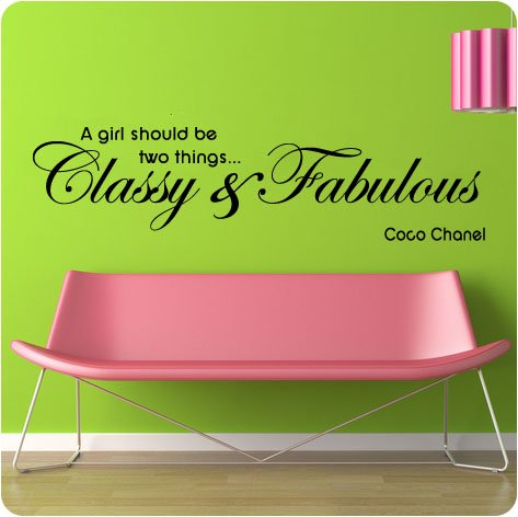 """48"""" Coco Chanel Classy and Fabulous - WALL STICKER DECAL QUOTE ART"""
