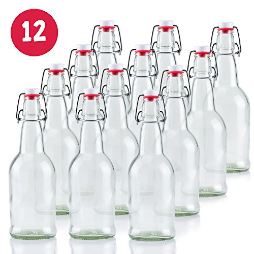 16 oz Clear Glass Beer Bottles for Home Brewing - 12 Pack with Flip Caps (Beer Making Spoon compare prices)