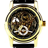 Orkina Mens Transparent Tourbillon Mechanical Dial Quartz Black Leather Strap Wrist Watch MG016BB