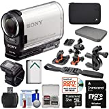 Sony Action Cam HDR-AS200VR Wi-Fi HD Video Camera Camcorder & Live Remote + 32GB Card + 2 Helmet, Flat & Handlebar Bike Mounts + Battery + Case Kit