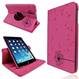 PU Leather Dandelion Flower Printed Smart Stand 360° Rotating Flip Case Cover For Apple iPad Mini Retina - Hot Pink (CooltechStuff)