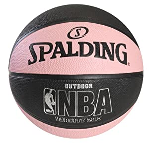 "Spalding NBA Varsity Outdoor Rubber Basketball - Black/Pink - Intermediate Size 6 (28.5"")"