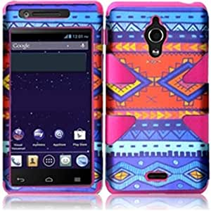 HR Wireless Huawei Vitria/H882L Dynamic Protective Cover - Retail Packaging - Blue Decorative Tribal/Hot Pink