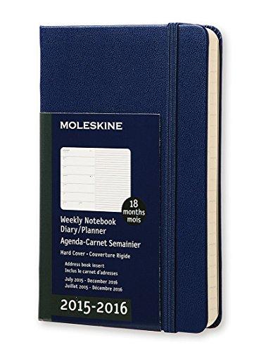 Agenda 18m Semainier Carnet 2015 2016 Poche Bleu Couv Rigide PDF