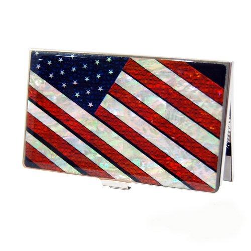 Porta Biglietti Da Visita Astuccio Porta Carte Di Credito Piccolo Portafoglio o Borsino o Porta Documenti o Porta Monete Con Motivo Bandiera Americana o Statunitense a Stelle e Strisce