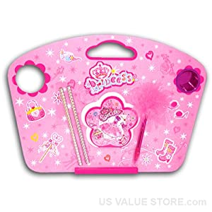 Pink Princess Wooden Lap Desk with Stationary and Cup Holder