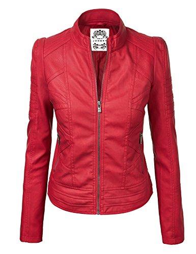 [LL WJC746 Womens Vegan Leather Motorcycle Jacket L RED] (Emma Swan Costume)