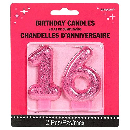 Amscan Chic Sweet Sixteen Celebration Molded Glitter Number 16 Toy (2 Piece), Magenta, 3""