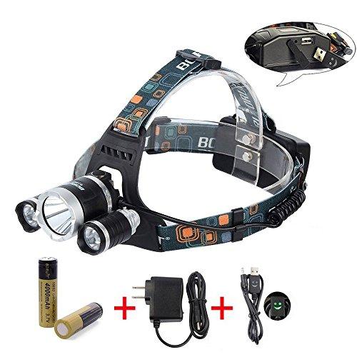 BORUiT RJ-5000 Super Bright Headlamp LM 3 x Cree XML-L2 4 Modes 5000Lumens Rechargeable LED Headlamp Headlight Comfortable Wearing Head Light for Camping/Biking/Hunting/Fishing/Walking
