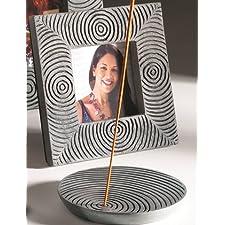 En Palewa Soapstone y soporte para incienso Yembe hecho a mano con círculos concéntricos, 11 x 1,5 cm