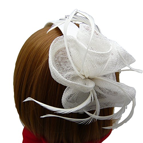HATsanity Women's Blossom Sinamay Cocktail Hairband Fascinator Ivory