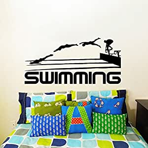 Wall decals swimming sport logo emblem swimmer gift office for Swimming bedroom decor