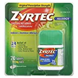 Zyrtec Allergy, Original Prescription Strength, 10 mg, Tablets, 70 tablets