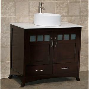 36 bathroom vanity cabinet white granite top vessel sink tr4