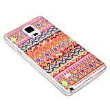 DeinPhone coque de protection pour samsung galaxy note 4 coque de protection en silicone motif zigzags orange