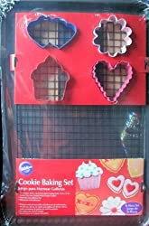 Wilton Cookie Baking Set....10 X 16 Non Stick Cooling Grid....4 Coated Metal Cookie Cutters...11 x 17 non-stick Easy Release Pan