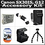 Accessory Kit For The Canon SX30IS SX30 IS Canon G12 Digital Camera Includes USB 2.0 High Speed Card Reader + Extended Replacement NB-7L (1500 mAH) Battery + Ac/Dc Rapid Battery Charger + Deluxe Case + Clear LCD Screen Protectors + Grpster