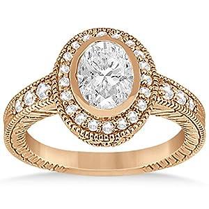 Allurez - Oval Halo Verlobungsring Einstellung W / Diamant Akzente 18K R. Gold-0.36ct