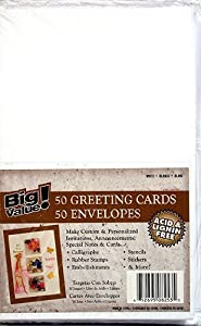 50 Blank Greeting Cards & Envelopes 5x7 A7 White