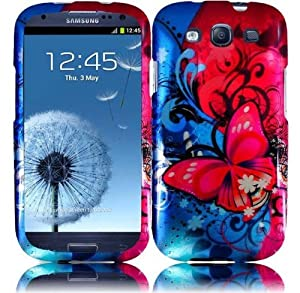 Samsung Galaxy S3 i9300 SGH i747 Rubberized Design Cover, Butterfly Bliss