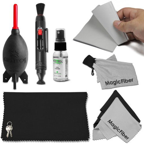 """Professional Cleaning Kit For Dslr Cameras - Includes: 1 Oz. Purosol All Natural Optical Lens And Lcd Cleaner (Mist Spray Bottle) + Giottos Rocket Air Blaster (Medium 6.6"""") + 50 Sheets Camera Cleaning Tissue + Lens Cleaning Pen System + Magicfiber Microfi"""