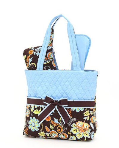 Belvah Quilted Floral 3Pc Set Diaper Tote Bag (Brown/Turquoise)