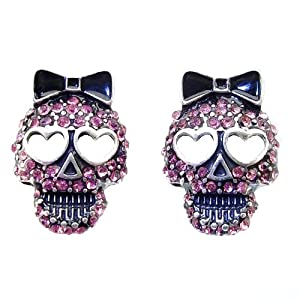 DaisyJewel Pink Skull Earrings - Betsey Johnson Top Seller Slayer / Reaper - Magenta Crystal Encrusted Sugar Skull Calavera Stud Earrings with Heart Shaped Eyes & Black Enamel Bow- Skin-Safe Silver / Metal Alloy - Posts & Backs - For Pierced Ears