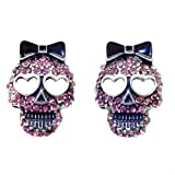 DaisyJewel Pink Crystal Skull Earrings - Top Seller Sparkle Sugar Skull Calavera Studs