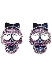 DaisyJewel Pink Crystal Sugar Skull Stud Earrings