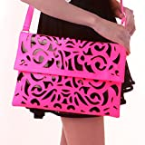HDE Women's Neon Color Hollow Laser Cut Out Clutch Crossbody Messenger Handbag