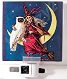 New Vintage Style Halloween Postcard Reproduction Night Light Witch & Owl