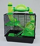 Nagerkäfig,Hamsterkäfig,Zwerghamsterkäfig, Rocky,Teddy Lux,Hamster,Maus,Nager,Käfig,Mäusekäfig incl. Röhrensystem in grün