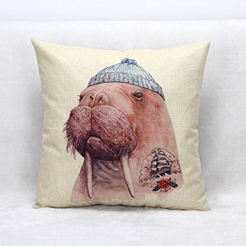 Mr. Flax Animal Home Office Sofa Cushion By Pillowcase Mr. Walrus