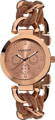 Akribos XXIV AK564RG 38mm Metal Case Rose Gold Steel Bracelet Mineral Women's Watch