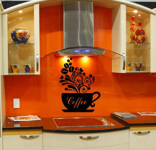 Wall Vinyl Sticker Decal Art Design Cup Of Coffee Room Nice Picture Decor Hall Wall Chu158