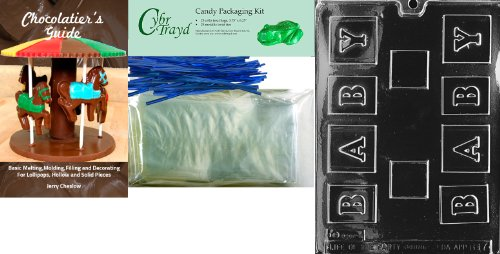 Cybrtrayd 'Small Baby Block' Baby Chocolate Candy Mold With Chocolatier'S Bundle, Includes 25 Cello Bags, 25 Blue Twist Ties And Chocolatier'S Guide front-766354