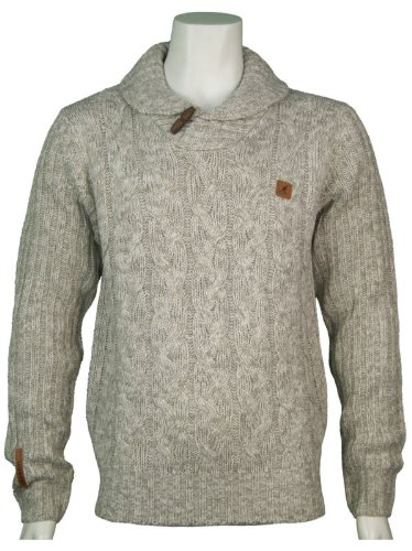 New Kangol Mens Shawl Collar Knitted Jumper, In Greymarl Size X-Large - Style Calico - K604392