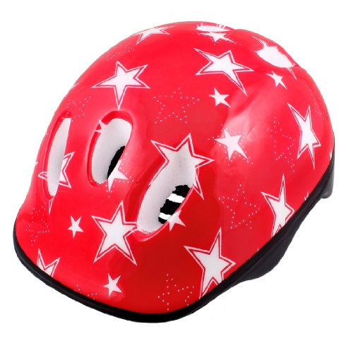 Como Adults Adjustable Strap Star Pattern Red White Foam Cycling Skating Helmet