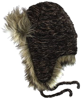 San Diego Hat Women's Fur Trim Trapper, Chocolate, One Size