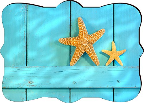 Rikki Knighttm Starfish On Blue Rustic Door Design Fancy Rectangle Shaped Art Fridge Magnet front-630594