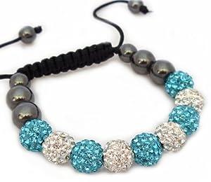 Turquoise & White Shamballa Style Swarovski Crystals Friendship Bracelet - New design without string - QJ© Reduced Sale QJ©